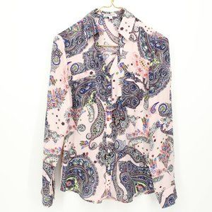 Express Portofino Pink Paisley Button Up Shirt